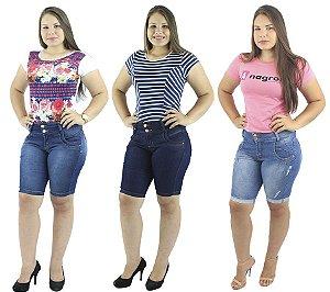 Kit com 3 Bermudas Jeans Moda Pedal