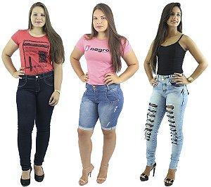 Combo de 2 Calças Jeans + Bermuda Jeans Moda Pedal