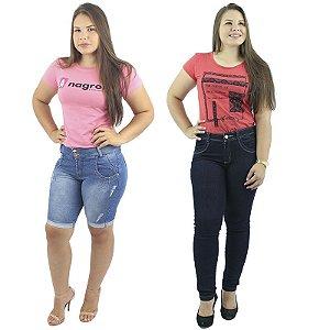 Combo de 1 Bermuda Pedal Jeans + Calça Skinny Jeans Escuro