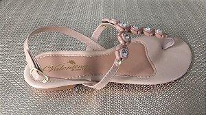 Sandália nude com detalhes de strass