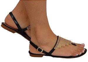 Sandália manta de strass preta