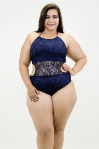 Maio Renda Azul Plus Size