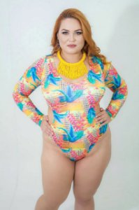 Maiô Cropped manga Longa Fio Dental Floral Plus Size