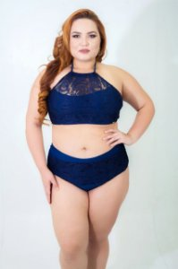 Biquini Cropped Renda Azul Plus Size