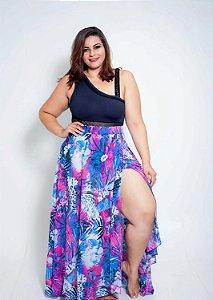 Saida Saia Folhagem Rosa e Azul Plus Size