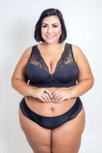 Conjunto Renda Preto Fio Dental Plus Size