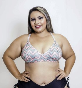 Top Cortininha Elasticado Verde e Rosa Plus Size