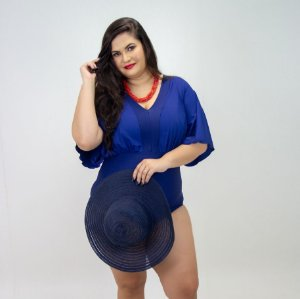 Body Mangas Azul Marinho Plus Size