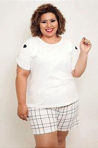 Pijama Gatinho Xadrez Plus Size