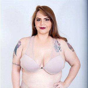 Sutiã Bolero Tule Pele e Nude Plus Size