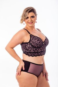 Calcinha Catarina Rose com Tule Preto Plus Size