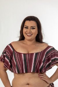 Top Ciganinha Listras Plus Size