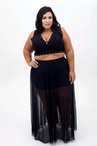 SAIA TULE COM SHORT PLUS SIZE