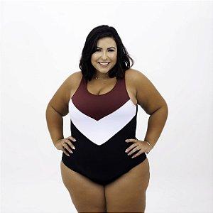 Maiô Body Sara Tricolor Plus Size