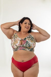 Top Croped Gota Floral Plus Size