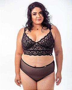 Calcinha Catarina Nude com Tule Preto Plus Size