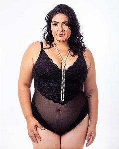 Body Larissa Tule e Renda Preto Plus Size