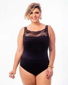 Body Micro e Renda  Preto Plus Size
