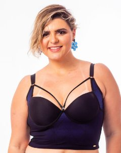 Top Croped Diva com Strappy Bra Azul Plus Size