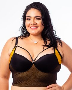 Top Croped Diva Strappy Ouro Liso  Plus Size