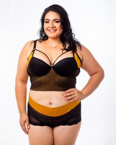 Top Croped Diva Strappy Ouro Plus Size