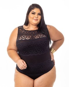 Body Leticia Preto Plus Size
