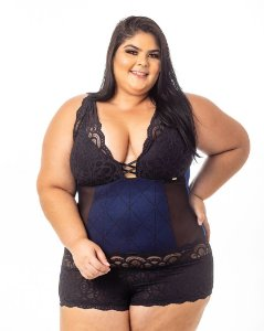 Body Sissia Azul Plus Size