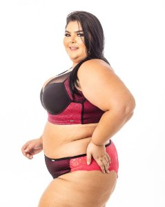 Calcinha Flavia Tule Renda Bordo Plus Size