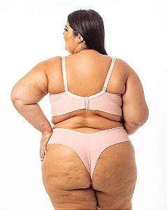 Calcinha Milena Fio Dental Duplo rosa Plus Size