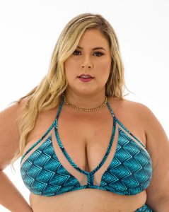 Top Naty Azul Concha Plus Size