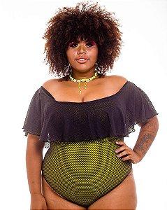 Body Laura Preto Verde Plus Size