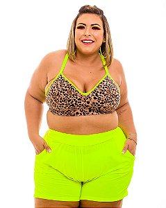 Short Malha Verde Gabi Plus Size