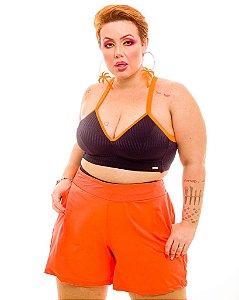 Short Malha Laranja Gabi Plus Size