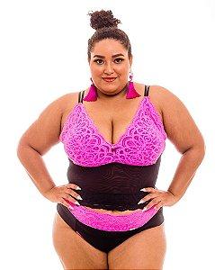 Croped Diana Preto e Pink  Plus Size
