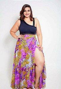 Saia Saida Floral Roxa Plus Size