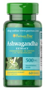 Ashwagandha Standardized Extract 500mg | 60 Cápsulas - Puritan's Pride