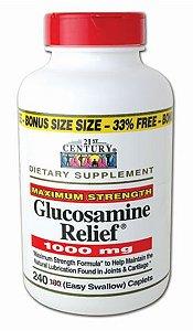 Glucosamina Força máxima (Maximum Strength) 1000mg  + Cálcio 99mg | 240 Cápsulas - 21st Century