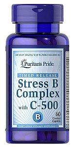 Stress Vitamin B-Complex com Vitamin C-500 Timed Release | 60 Coated Caplets - Puritan's Pride