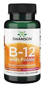 Vitamina B-12 (cianocobalamina) 1000mcg + Acido Folico  400mcg| 250 Lozenges (sublingual) - Swanson