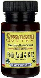 Ácido Fólico + Vitamina B-12 1000mcg | 30 Cápsulas - Swanson ULTRA