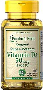 Vitamina D3 2.000 ui (50mcg) | 100 Softgels - Puritan's Pride