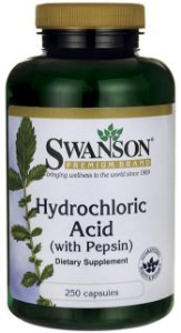 Betaina (Hydrochloric Acid) HCL 325mg com Pepsin 82mg  | 250 Cápsulas - Swanson