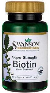 Biotina 10mg (10.000 mcg) | 60 Softgels - Swanson