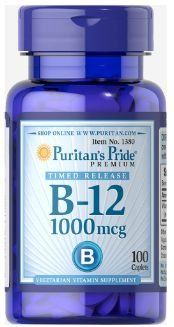 Vitamina B-12 1.000mcg (Cyanocobalamin) | 100 Caplets - Puritan