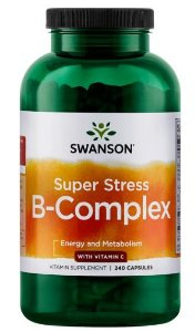 Super Stress Vitamin B-Complex com Vitamin C - Complexo B | 240 Cápsulas - Swanson