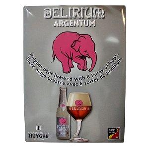 Placa de Metal Original Cerveja Delirium Argentum