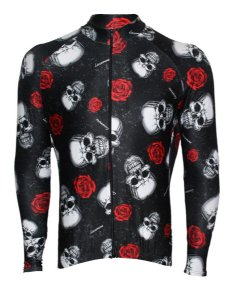 Camisa Lacarrera Caveira Com Rosas Manga Longa Preta