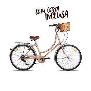 Bicicleta Mobele Imperial R26 7v Marrom Passeio Retrô