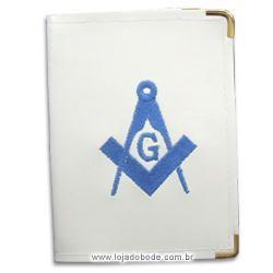 Carteira Porta Documentos Branca - Esquadro e Compasso Bordado