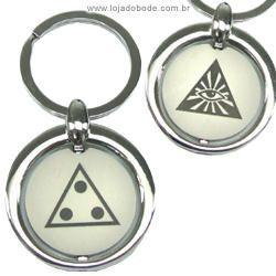 Chaveiro em Metal com Gravação a Laser - Olho e Triângulo